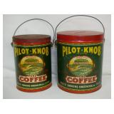 PAIR PILOT KNOB COFFEE VA TINS