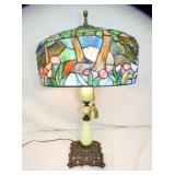 27X18WIDE LEADED GLASS PARLOR LAMP