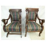 2 MATCHING LION HEADS ROCKER/CHAIR