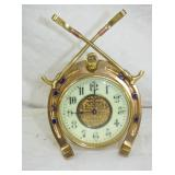 6IN BRASS JOCKEY/POLO CLOCK