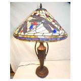 STAINED GLASS DRAGON FLY LAMP