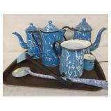 BLUE & WHITE ENAMEL WARE