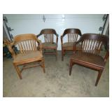 4 MATCHING OAK ARM CHAIRS