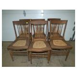 6 MATCHING OAK CAN BOTTOM CHAIRS