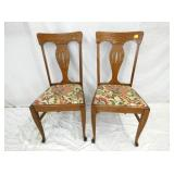 2 UNUSUAL MATCHING OAK CHAIRS