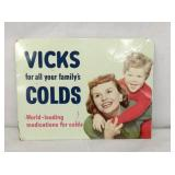 8.5X11 VICKS COLDS TIN SIGN