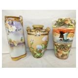 11-13IN E. NIPPON HAND DECORATED VASES