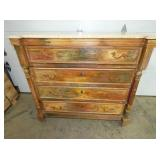 4 DRAWER PRIM. MARBLE TOP CHEST