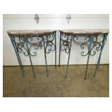 PAIR 36IN MARBLE TOP IRON TABLES