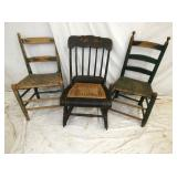 EARLY PRIM. CHAIRS, CHEESE CUTTER ROCKER