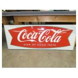 26X68 PORC. COKE FISH TAIL SLED SIGN