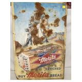 24X36 EMB. 1954 MERITA BREAD SIGN