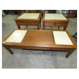 3PC MARBLE TOP END TABLES/COFFEE