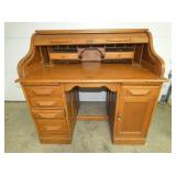 48IN OAK S ROLL TOP DESK