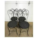 4 MATCHING IRON ICE CREAM CHAIRS