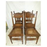 SET 4 MATCHING OAK CANE BOTTOM CHAIRS