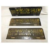 1948 WINSTON SALEM CITY TAGS