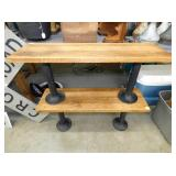 OAK BENCHES W/ IRON BASES