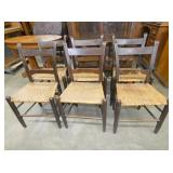 6 EARLY MULE BACK CHAIRS