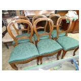 6 MATCHIN WALNUT CHAIRS
