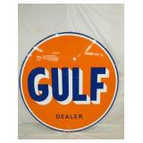 6FT. PORC 1961 GULF DEALER SIGN