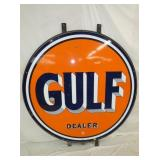 5 1/2FT. 1950 PORC GULF DEALER SIGN