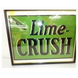 14X19 EMB. LIME CRUSH TIN SIGN FRAMED