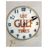 15IN LIGHTED GULF TIRES CLOCK