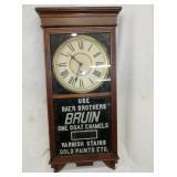 16X39 BRUIN ENAMELS WALL CLOCK