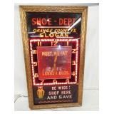 17X29 NEON SHOE STORE SLOGAN CLOCK
