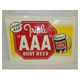 20X28 EMB. TRIPLE AAA ROOT BEER SIGN