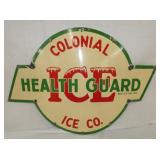 20X30 PORC. COLONIAL ICE SIGN