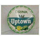 29IN NOS DRINK UPTOWN BUTTON CAP SIGN