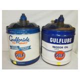 GULFPRIDE MOTOR OIL CANS