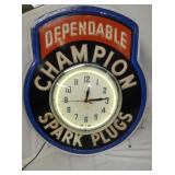 RARE 29X34 EMB. CHAMPION CLOCK