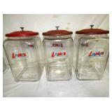 TALL LANCE STORE JARS W/ ORIG.LIDS