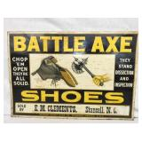 14X20 EMB. BATTLE AXE SHOES SIGN
