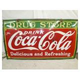 55X96 PORC COCA COLA DRUG STORE SIGN