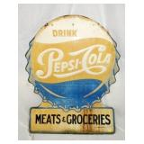 40X50 DIE CUT PEPSI COLA GROCERIES SIGN