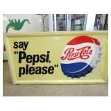 36X67 EMB. PEPSI SELF FRAMED SIGN