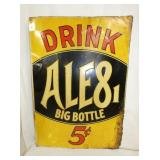 20X28 EMB. DRINK ALE8 5CENT SIGN