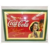 18X26 COCA COLA FRAMED METAL SIGN