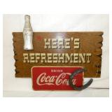 COCA COLA REFESHEMENT SIGN WOODEN