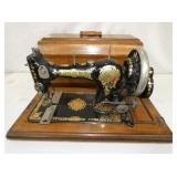 EARLY JONES SEWING MACHINE W/ CASE