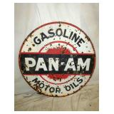 42IN PORC. PAN AM MOTOR OIL SIGN