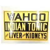 18X22 WAHOO INDIAN TONIC SIGN