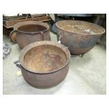 VARIOUS CAST IRON FOOTED POTS