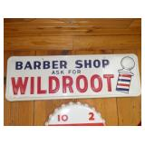 1331 1965 EMB. WILDROOT BARBER SIGN