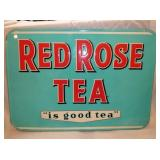 19X27 EMB. RED ROSE TEA SIGN