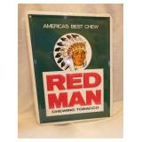 12X16 EMB. RED MAN TOBACCO SIGN